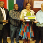 From left to right: Municipal Manager- Mr D Ngxanga, Speaker- Clr T Basson, Mayor-Clr L Koloi and from the Auditor General's office- Mr P Kritzinger