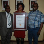 In the picture is from left to right is the Speaker of the //Khara Hais Municipality, Mr Thomas Basson, the Mayor of //Khara Hais Municipality, Me Limakatso Koloi and the Municipal Manager, Mr Daluxolo Ngxanga