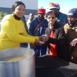 The Mayor of //Khara Hais, Me Limakatso Koloi, recently gave soup and food to people during the 67 minutes for Mandela day.